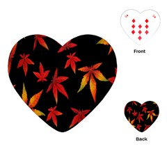 Colorful Autumn Leaves On Black Background Playing Cards (heart)  by Amaryn4rt