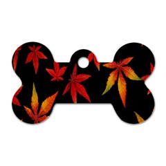 Colorful Autumn Leaves On Black Background Dog Tag Bone (one Side) by Amaryn4rt