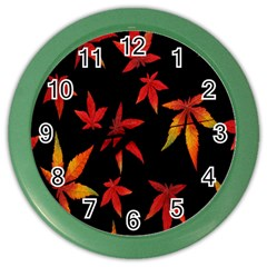 Colorful Autumn Leaves On Black Background Color Wall Clocks by Amaryn4rt