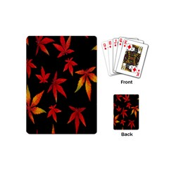 Colorful Autumn Leaves On Black Background Playing Cards (mini)  by Amaryn4rt