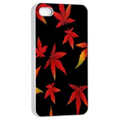 Colorful Autumn Leaves On Black Background Apple Iphone 4/4s Seamless Case (white) by Amaryn4rt