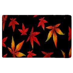 Colorful Autumn Leaves On Black Background Apple Ipad 3/4 Flip Case by Amaryn4rt