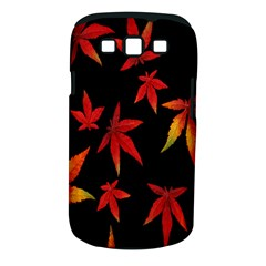 Colorful Autumn Leaves On Black Background Samsung Galaxy S Iii Classic Hardshell Case (pc+silicone) by Amaryn4rt