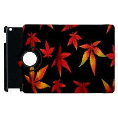 Colorful Autumn Leaves On Black Background Apple Ipad 3/4 Flip 360 Case by Amaryn4rt