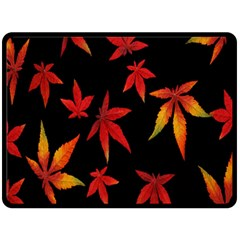 Colorful Autumn Leaves On Black Background Double Sided Fleece Blanket (large)  by Amaryn4rt