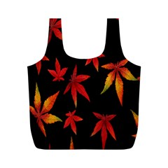 Colorful Autumn Leaves On Black Background Full Print Recycle Bags (m)  by Amaryn4rt