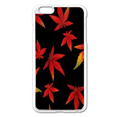 Colorful Autumn Leaves On Black Background Apple Iphone 6 Plus/6s Plus Enamel White Case by Amaryn4rt