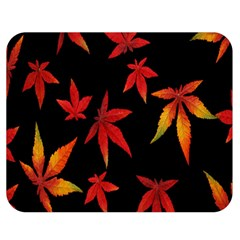 Colorful Autumn Leaves On Black Background Double Sided Flano Blanket (medium)  by Amaryn4rt