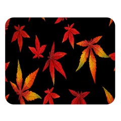 Colorful Autumn Leaves On Black Background Double Sided Flano Blanket (large)  by Amaryn4rt