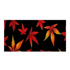 Colorful Autumn Leaves On Black Background Satin Wrap by Amaryn4rt