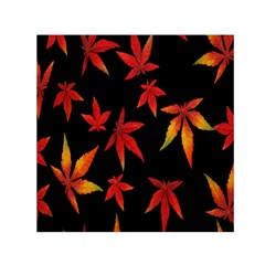 Colorful Autumn Leaves On Black Background Small Satin Scarf (square) by Amaryn4rt