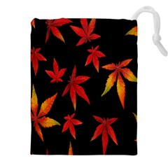 Colorful Autumn Leaves On Black Background Drawstring Pouches (xxl) by Amaryn4rt