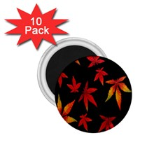 Colorful Autumn Leaves On Black Background 1 75  Magnets (10 Pack)  by Amaryn4rt