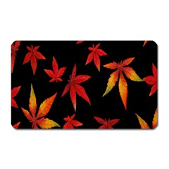 Colorful Autumn Leaves On Black Background Magnet (rectangular) by Amaryn4rt
