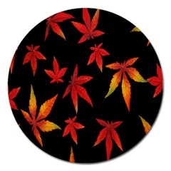 Colorful Autumn Leaves On Black Background Magnet 5  (round) by Amaryn4rt