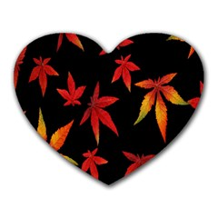 Colorful Autumn Leaves On Black Background Heart Mousepads by Amaryn4rt