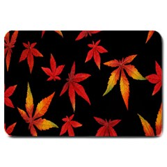 Colorful Autumn Leaves On Black Background Large Doormat  by Amaryn4rt