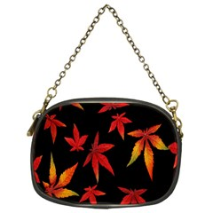 Colorful Autumn Leaves On Black Background Chain Purses (one Side)  by Amaryn4rt