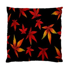 Colorful Autumn Leaves On Black Background Standard Cushion Case (two Sides) by Amaryn4rt