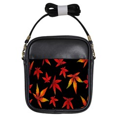 Colorful Autumn Leaves On Black Background Girls Sling Bags by Amaryn4rt