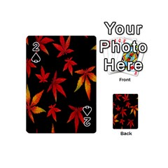 Colorful Autumn Leaves On Black Background Playing Cards 54 (mini)  by Amaryn4rt