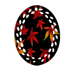 Colorful Autumn Leaves On Black Background Oval Filigree Ornament (two Sides) by Amaryn4rt
