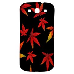 Colorful Autumn Leaves On Black Background Samsung Galaxy S3 S Iii Classic Hardshell Back Case by Amaryn4rt