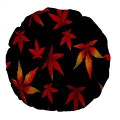 Colorful Autumn Leaves On Black Background Large 18  Premium Round Cushions by Amaryn4rt