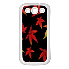 Colorful Autumn Leaves On Black Background Samsung Galaxy S3 Back Case (white) by Amaryn4rt