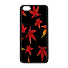Colorful Autumn Leaves On Black Background Apple Iphone 5c Seamless Case (black) by Amaryn4rt