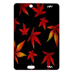 Colorful Autumn Leaves On Black Background Amazon Kindle Fire Hd (2013) Hardshell Case by Amaryn4rt