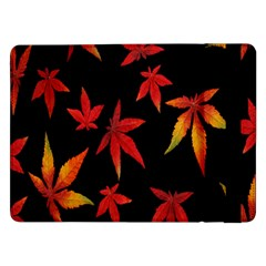 Colorful Autumn Leaves On Black Background Samsung Galaxy Tab Pro 12 2  Flip Case by Amaryn4rt