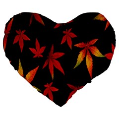 Colorful Autumn Leaves On Black Background Large 19  Premium Flano Heart Shape Cushions by Amaryn4rt