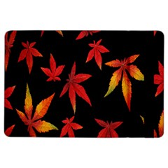 Colorful Autumn Leaves On Black Background Ipad Air 2 Flip by Amaryn4rt