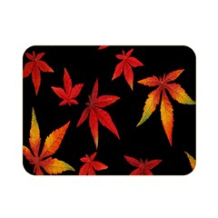 Colorful Autumn Leaves On Black Background Double Sided Flano Blanket (mini)  by Amaryn4rt