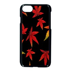 Colorful Autumn Leaves On Black Background Apple Iphone 7 Seamless Case (black) by Amaryn4rt