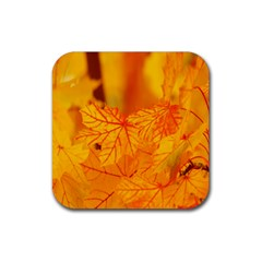 Bright Yellow Autumn Leaves Rubber Square Coaster (4 Pack)  by Amaryn4rt