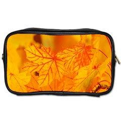 Bright Yellow Autumn Leaves Toiletries Bags by Amaryn4rt
