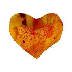 Bright Yellow Autumn Leaves Standard 16  Premium Heart Shape Cushions by Amaryn4rt