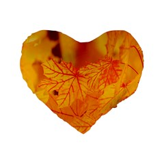 Bright Yellow Autumn Leaves Standard 16  Premium Flano Heart Shape Cushions by Amaryn4rt