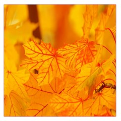 Bright Yellow Autumn Leaves Large Satin Scarf (square) by Amaryn4rt