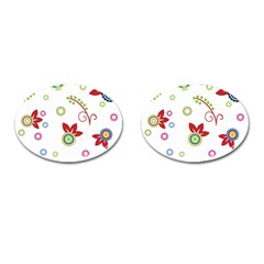 Colorful Floral Wallpaper Background Pattern Cufflinks (oval) by Amaryn4rt