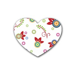 Colorful Floral Wallpaper Background Pattern Rubber Coaster (heart)  by Amaryn4rt