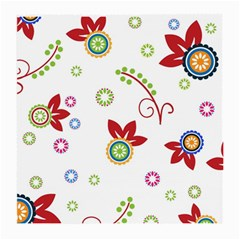 Colorful Floral Wallpaper Background Pattern Medium Glasses Cloth (2 Side) by Amaryn4rt