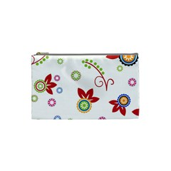 Colorful Floral Wallpaper Background Pattern Cosmetic Bag (small)  by Amaryn4rt
