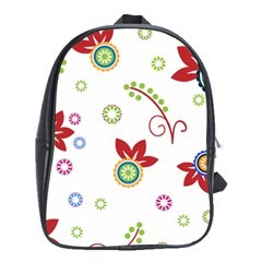 Colorful Floral Wallpaper Background Pattern School Bags(large)  by Amaryn4rt