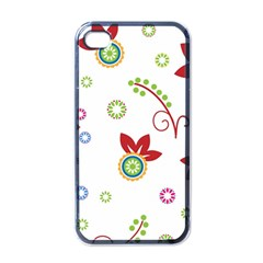 Colorful Floral Wallpaper Background Pattern Apple Iphone 4 Case (black) by Amaryn4rt