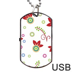 Colorful Floral Wallpaper Background Pattern Dog Tag Usb Flash (one Side) by Amaryn4rt