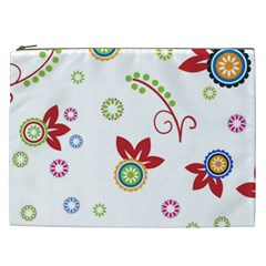 Colorful Floral Wallpaper Background Pattern Cosmetic Bag (xxl)  by Amaryn4rt