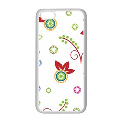 Colorful Floral Wallpaper Background Pattern Apple Iphone 5c Seamless Case (white) by Amaryn4rt